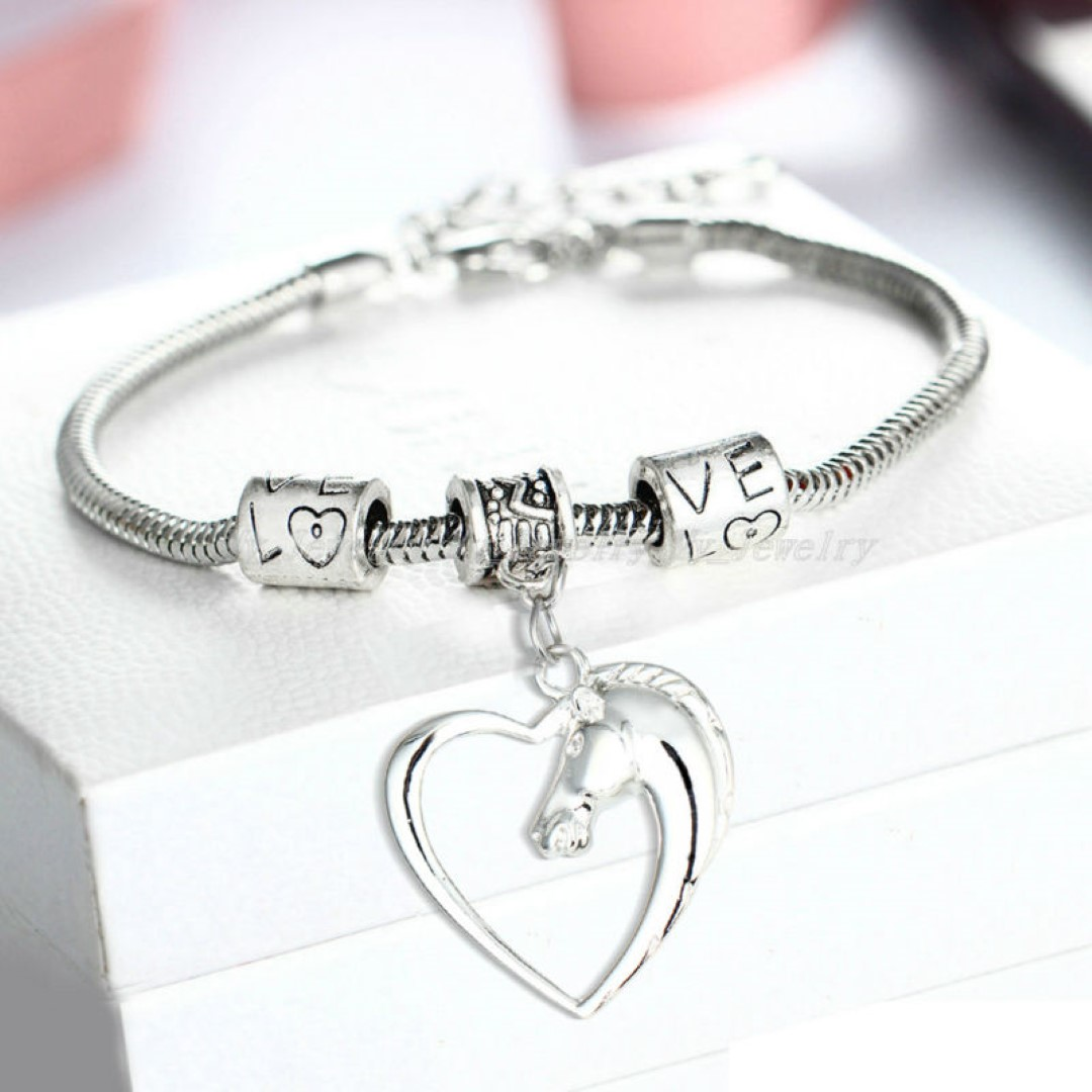 Silver Plated Horse-Head Bracelet