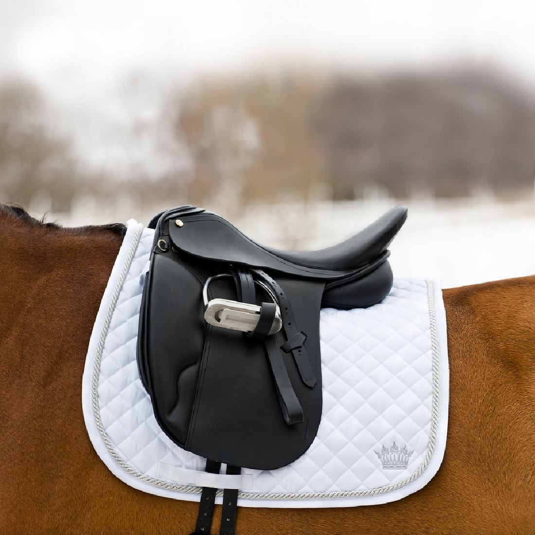 Silver-Cord Dressage Saddle Pad white