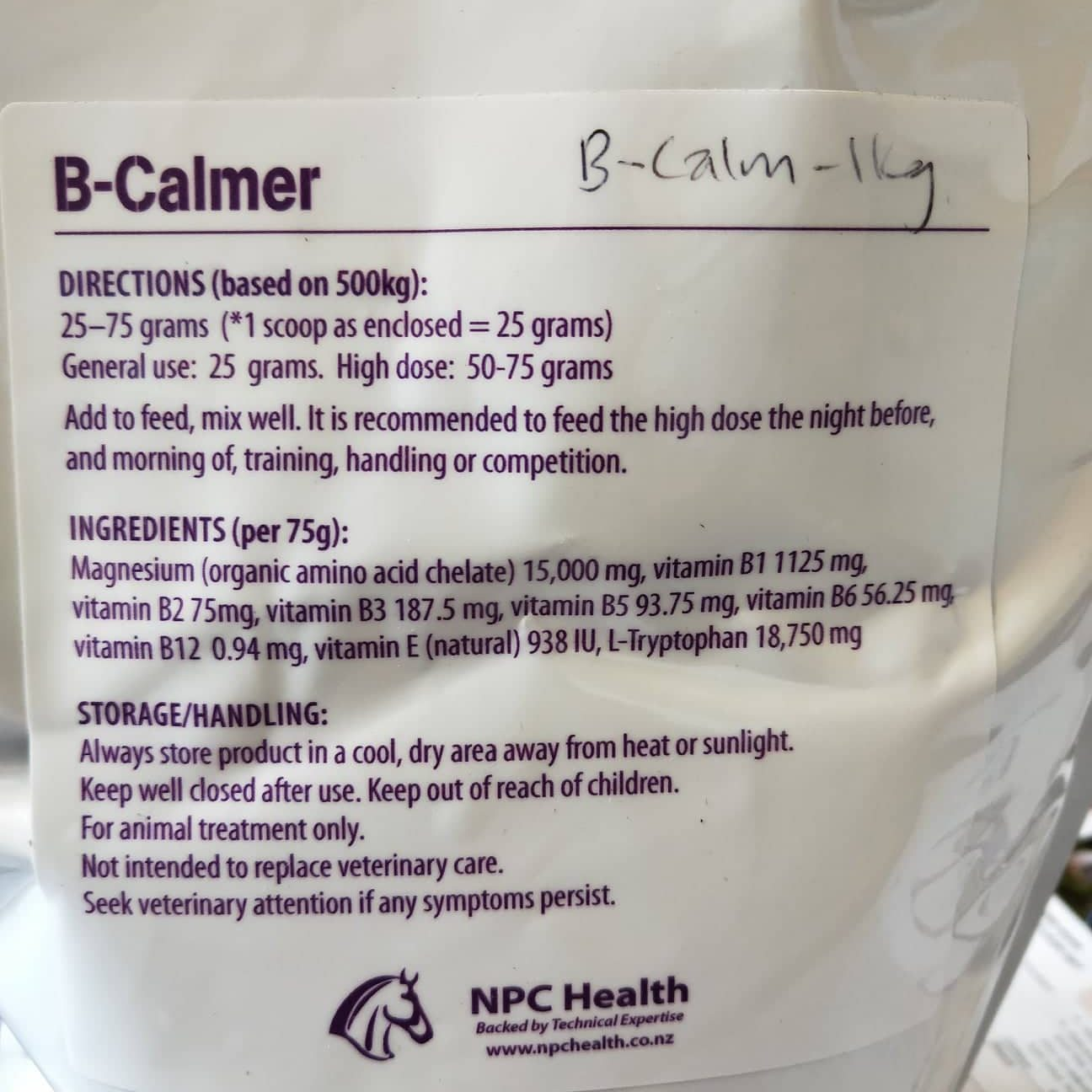 B-Calm ingredients